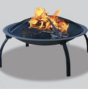 Uniflame Black Fire Bowl with Foldable Legs