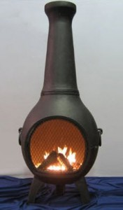 The Blue Rooster Chiminea Outdoor Fireplace with Gas Kit & Cover