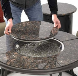 Outdoor Greatroom Company 42 inch Chat Table with Granite Top and Lazy Susan
