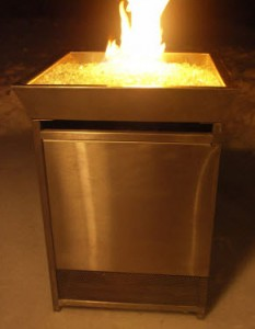 Urban FIre Outdoor Gas Fire Column Stainless Steel with Clear Fire Glass