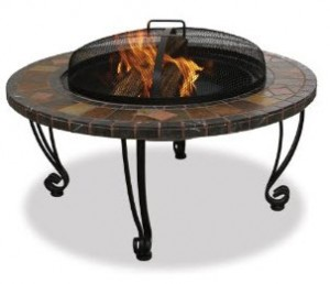 UniFlame 34-Inch Slate & Marble Fire Pit with Copper Accents