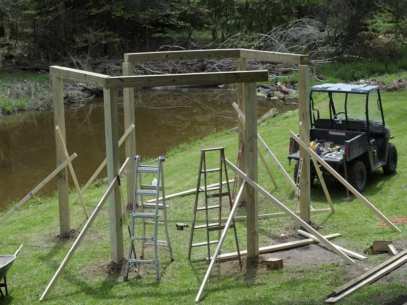Fire pit swing set construction: Securing cross bars