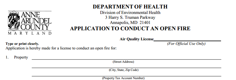 Anne Arundel County Open Fire Permit Application